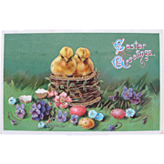 Easter Post Card with Two Chicks in Easter Basket