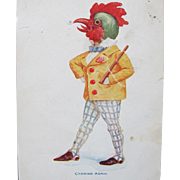 Easter Postcard with Dressed Rooster Crowing Again