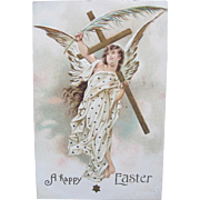 Easter Postcard with Angel Holding Palm Leaf and Cross Printed in Germany