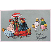 Easter Postcard with Dressed Chicks Clucking Gossip Printed in Germany