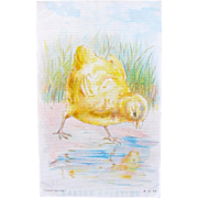 Easter Postcard with Big Chick Reflecting off Water