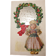 Christmas Postcard with Dutch Girl Christmas Nations Series Maud Humphries