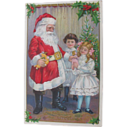 Santa Post Card with Girls Dolls Christmas Tree in Mother's Handwriting