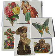 Victorian Die Cuts Germany Variety Dog Girl Butterfly Flowers Great Condition