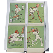Postcard Series Cricket 1910 Four Post Cards of Same Series Tuck Oilettes