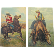 Vintage Cowboy Post Cards Artist Signed