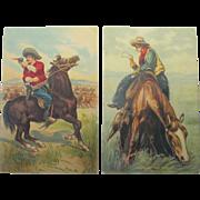 Vintage Cowboy Post Cards Artist Signed