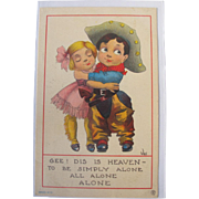 Artist Signed Post Card Wall Comical Children in Cowboy Gear