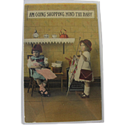Real Life Post Card with Children Black and White Photo Tinted 1910 Girls and Dolls