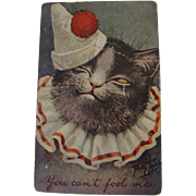Thiele Post Card Rare Hard to Find Cat in Clown Costume Dressed Cat