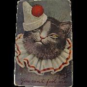 Thiele Post Card Rare Hard to Find Cat in Clown Costume Dressed Cat