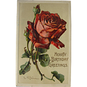 Rose Postcard by Catherine Klein Artist Signed for Birthday Wishes