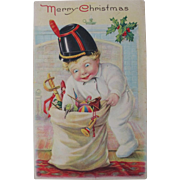 Christmas Postcard With Boy and Toys 1920