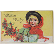 Christmas Postcard 1919 Artist Signed Gassoway Girl with Holly and Hat