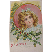 Christmas Postcard by Artist Frances Brundage 1908