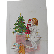 Christmas Postcards of Girls and Dolls Embossed
