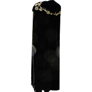 Antique Cape Black Velvet Long with Hood of Sequins of Gold 1900-1920