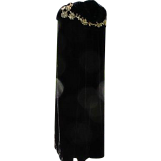 Antique Cape Black Velvet Long with Hood of Sequins of Gold 1900-1920