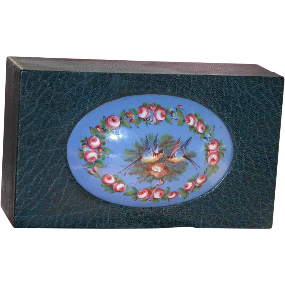 French Box Sevres Enamel Plaque on Large Leather Antique Box