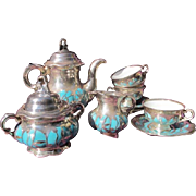 Sterling Silver Overlay Turquoise Porcelain Tea Set 1910 by Hutschenreuther Marked 1000