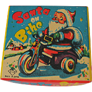 Santa on Bike Vintage Wind Up Mechanical Celluloid & Tin Toy with Box Japan T*