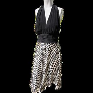 Tango Dress Backless Satin Skirt with Polka Dots