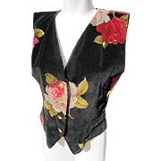Ungaro Vest in Velvet with Roses EX Condition 1990's
