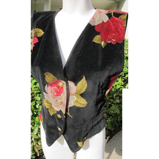 Ungaro Vest in Velvet with Roses EX Condition 1990's