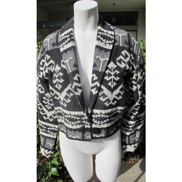 Western Jacket 100% Cotton Black White Vintage Coat Size 8 JFK Provenance
