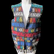 Cotton Vest Long Guatemala Hand Made Ethnic Animals Fringe JFK Provenance 1960's.