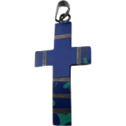Cross of Lapis and Green Malachite Sterling Silver Azurite