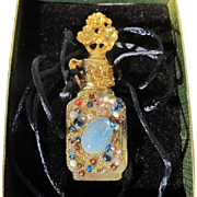 Mini Perfume Bottle Necklace by Adrian Vintage Unused Boxed Unique Jeweled Bottle