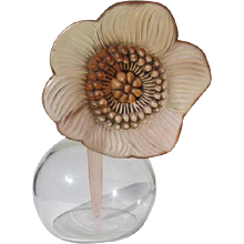 Lalique Anemone Perfume Bottle Sculpture Frosted Stained Crystal Glass