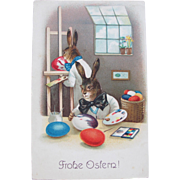 Dressed Rabbits Postcard for Easter 1908 Perfect