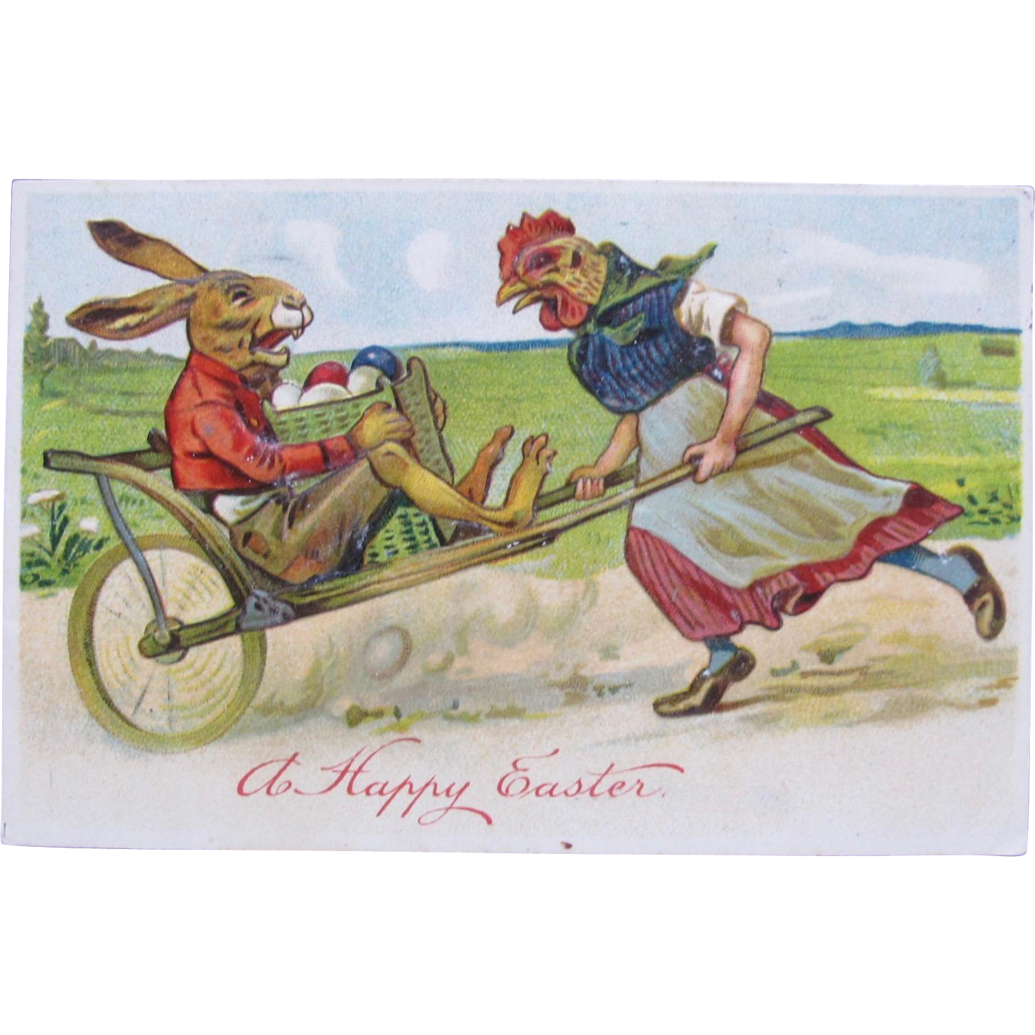 Post Card Dressed Rabbit Chicken for Easter 1910
