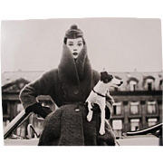 Vogue Photograph / Print of Ad from 1960's Couture Model with Dog