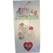 Valentine Card 3 Part Hanging Vintage Greeting Card