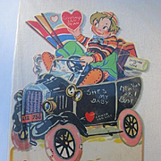 Mechanical Valentines Day Card Germany Old Model T