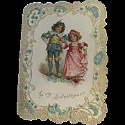 Valentines Day Card Victorian Era Frances Brundage Artist Die Cut