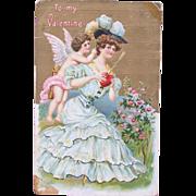 Valentine's Day Postcard Cherub Heart Roses