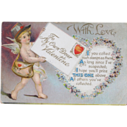Valentine's Day Post Card 1910 Embossed w/ Cherub