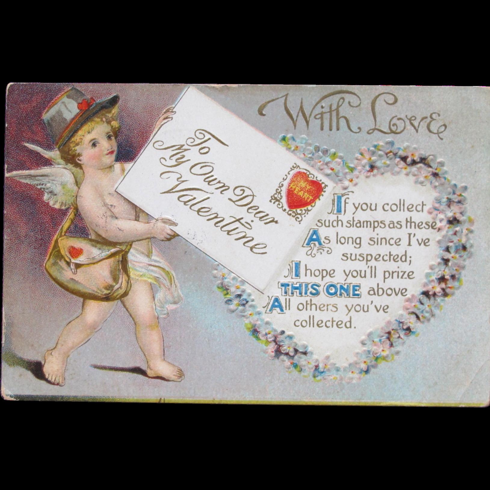 Valentine's Day Post Card 1910 Embossed w/ Cherub
