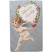Valentine's Day Postcard by Winsch Cherub and Roses