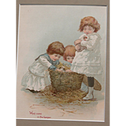 Victorian Lithograph with Matt Frame Girls and Guinea Pigs Large