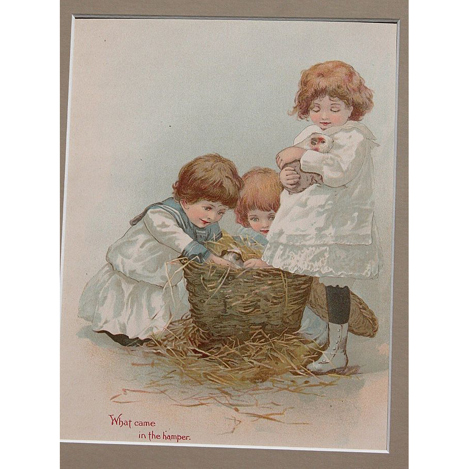 Victorian Lithograph with Matt Frame Girls and Guinea Pigs