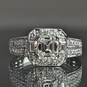 1.43 Carat Emerald Cut Halo Engagement/Wedding Ring / 1.03 Carat Center