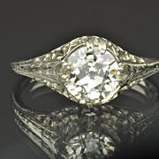 1.28 Carat Old European Cut Diamond Engagement Ring