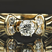 .75 Carat Old European Cut Diamond Engagement Ring / .50 Center