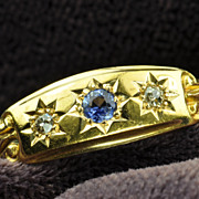 Victorian Old Mine Cut Diamond and Sapphire Wedding Band