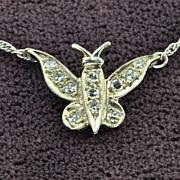 SALE Diamond Butterfly Necklace